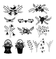 Set of floral design elements vector
