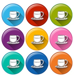 Circle buttons with cups vector