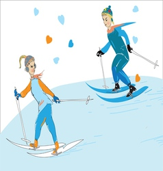 Couple skiing vector