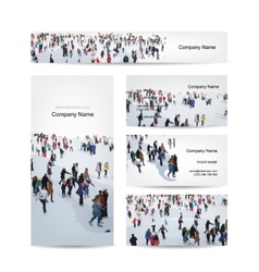 Business cards design skaters on rink vector