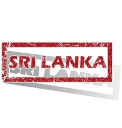 Sri lanka outlined stamp vector