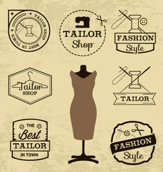 Labels badges and signs for tailor shop vector