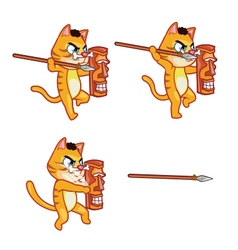 Cannibal cat throwing spear sprite vector
