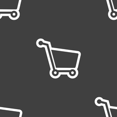Shopping cart icon sign Seamless pattern on a gray vector image