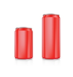 Set of red blank aluminium cans vector