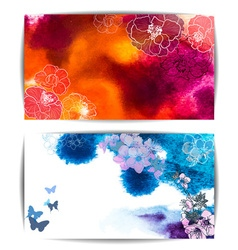 Watercolor banners with floral design vector