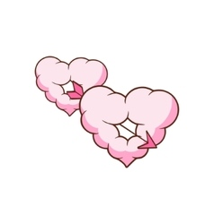Arrow piercing two heart shaped clouds vector