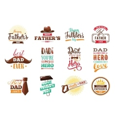 Happy fathers day set typography vector