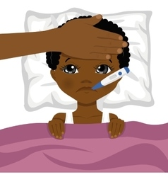 Little african american boy ill in bed vector