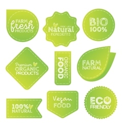 Green eco food labels health headings vector