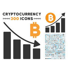 Bitcoin recession bar chart flat icon with clip vector