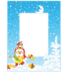 Border with a Christmas Snowman vector image vector image