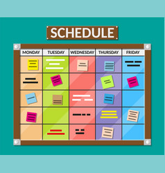 bulletin board full of tasks on sticky note cards vector image vector image
