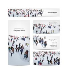 Business cards design skaters on rink vector