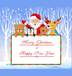 Cartoon santa and friend holding christmas vector