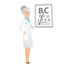 Caucasian ophthalmologist holding eyeglasses vector