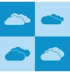 Cloud icons on blue background vector image vector image