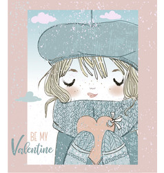 Cute girl with valentines card vector