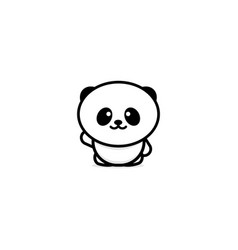 cute panda welcomes waving his hand vector image
