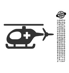 Emergency helicopter icon with professional bonus vector