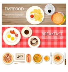 Fastfood banners set with food icons vector