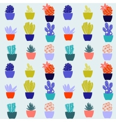 Flat pattern of cactus house plants in pots vector image vector image