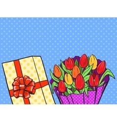 Flowers bouquet pop art style vector image vector image