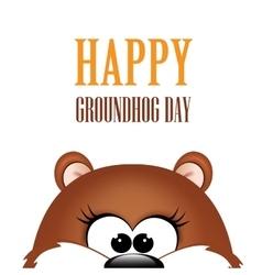 Groundhog day marmot on white background vector