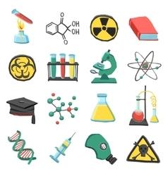 Laboratory chemistry icon set vector image
