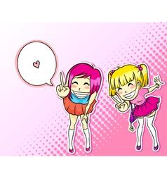 Manga girls vector