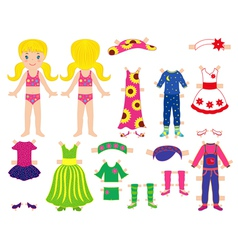 Paper doll and clothes set for her vector