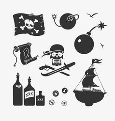 pirate symbols set vector image vector image