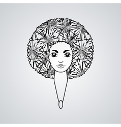 Portrait of a woman with luxuriant hair in the vector image