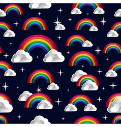Rainbow clouds cartoon seamless pattern vector