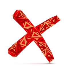 Red abstract triangles isolated cross mark vector image vector image