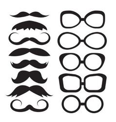 Set glasses and mustache vector image