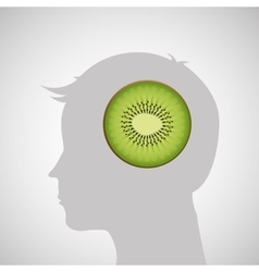 Silhouette head with tasty kiwi icon graphic vector