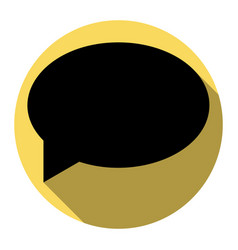 Speech bubble icon flat black icon with vector