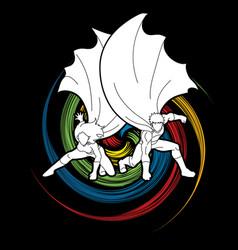 strong man and woman couple superhero landing vector image vector image