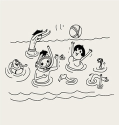 summer vacation family in sea vector image