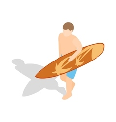 Surfer carries his surfboard icon vector image vector image