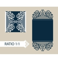 Template greeting card with openwork pattern vector image vector image