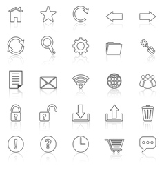 Tool bar line icons with reflect on white vector image vector image