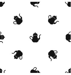 Traditional turkish teapot pattern seamless black vector