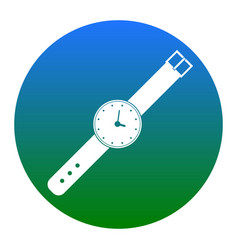 Watch sign white icon in vector