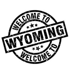 welcome to wyoming black stamp vector image vector image