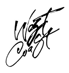 West coast modern calligraphy hand lettering for vector