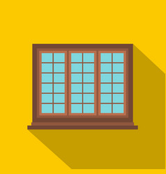 wooden brown tricuspid window icon flat style vector image