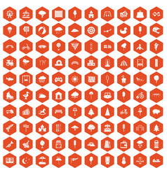 100 childrens park icons hexagon orange vector image vector image