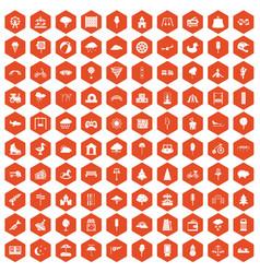100 childrens park icons hexagon orange vector